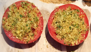 tomato and crumbs