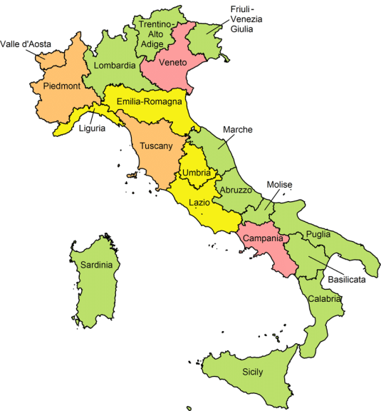 map of italy showing regions